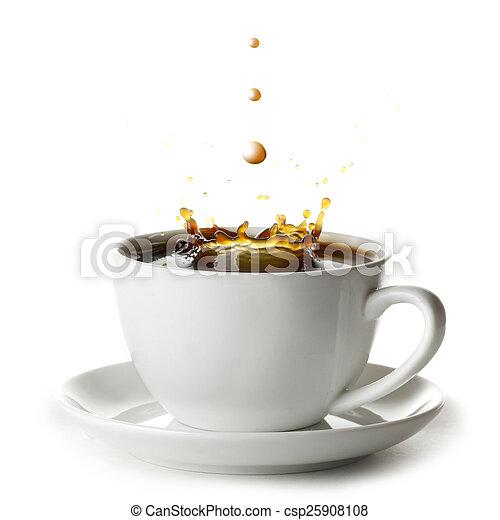 koffie, gespetter, kop - csp25908108