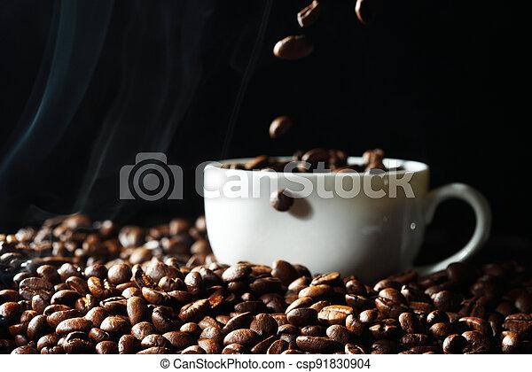 koffiekop, bonen - csp91830904