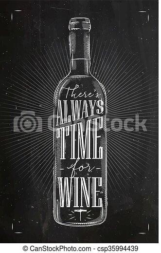 krijt, poster, tijd, wijntje - csp35994439
