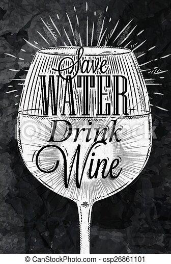krijt, poster, vintage wijn - csp26861101