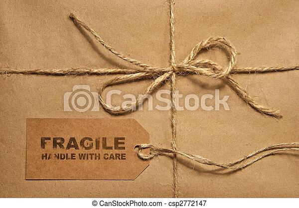 label, ruimte, gebonden, pakket, bruine , expeditie, kopie, twijn - csp2772147