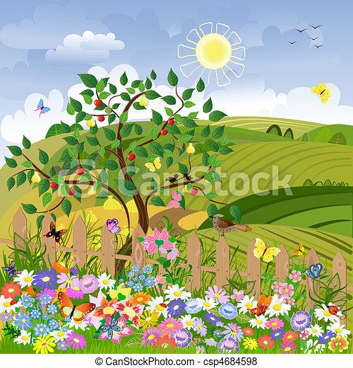 landelijk landschap, fruitbomen, omheining - csp4684598