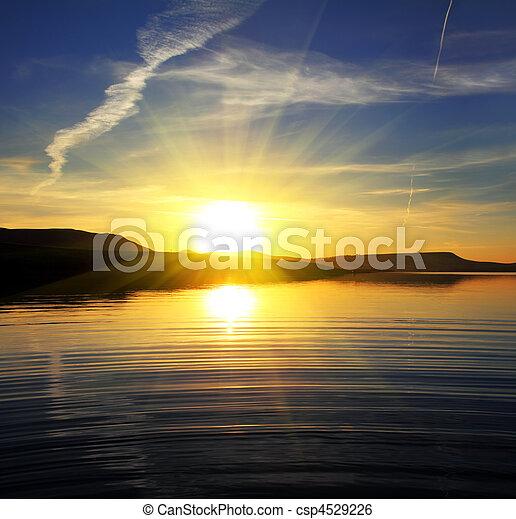 landscape, meer, zonopkomst, morgen - csp4529226