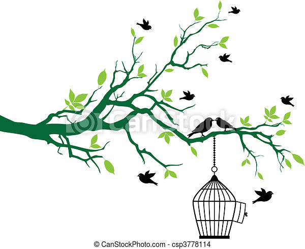 lente, boompje, vogels, birdcage - csp3778114