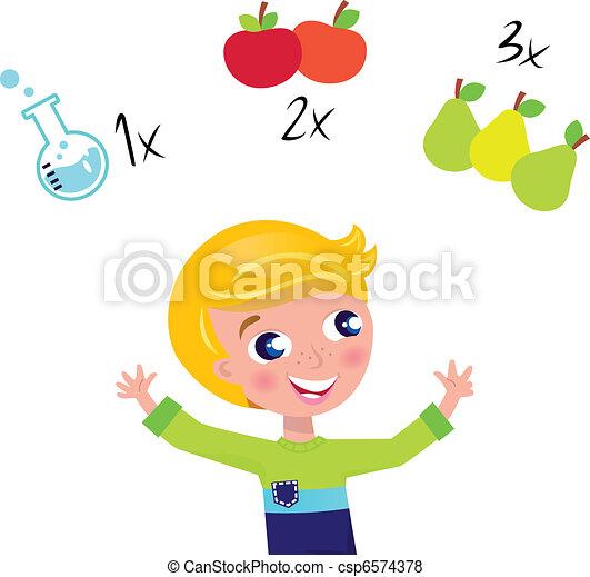 leren, vrijstaand, schattig, jongen, telling, blonde , wiskunde, witte  - csp6574378