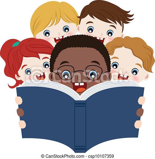 lezende , boekjes , kinderen - csp10107359