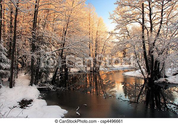 licht, rivier, winter, zonopkomst - csp4496661