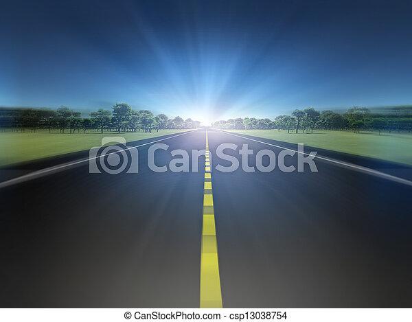 licht, verhuizing, straat, groene, naar, landscape - csp13038754