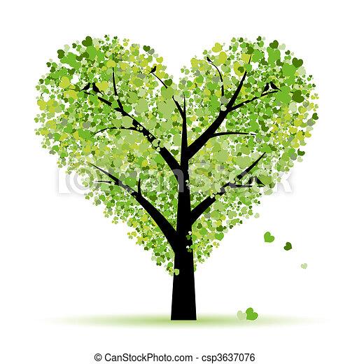 liefde, blad, boompje, hartjes, valentijn - csp3637076