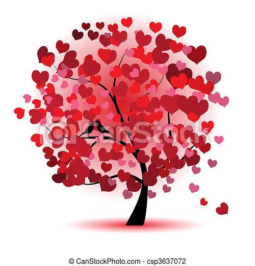 liefde, blad, boompje, hartjes, valentijn - csp3637072