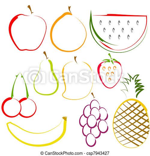 lijnen kunst, vruchten - csp7943427