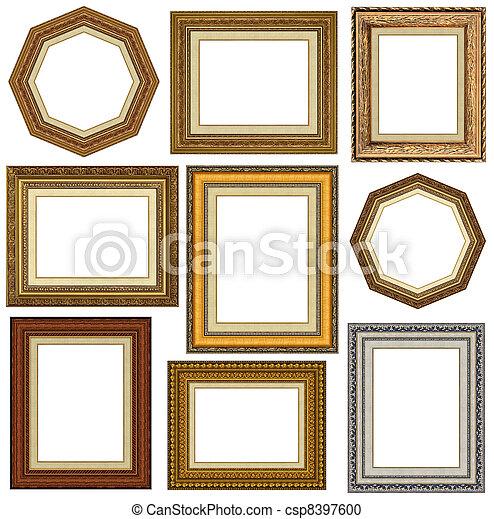 lijstjes, goud, afbeelding - csp8397600