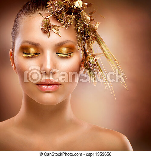 luxe, meisje, mode, makeup., verticaal, gouden - csp11353656