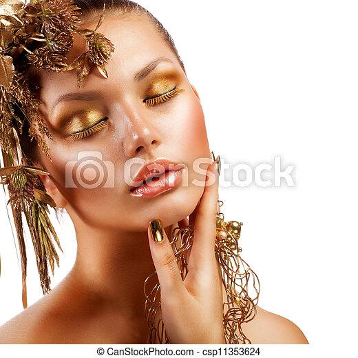 luxe, meisje, mode, makeup., verticaal, gouden - csp11353624