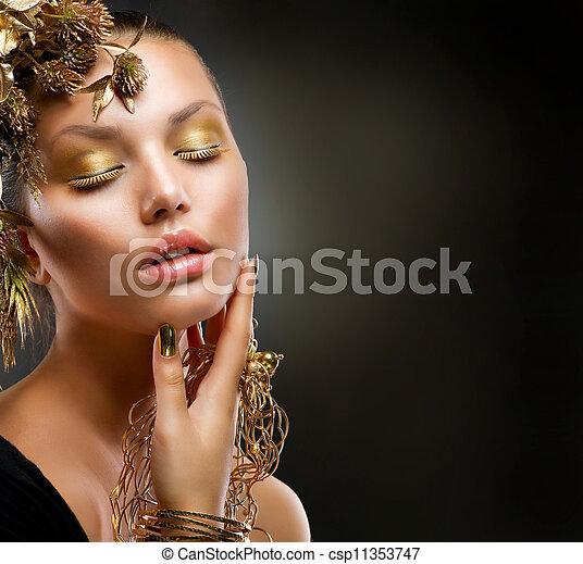 luxe, meisje, mode, makeup., verticaal, gouden - csp11353747