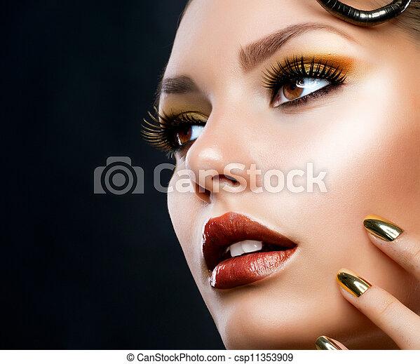 luxe, meisje, mode, makeup., verticaal, gouden - csp11353909