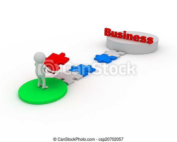 man, 3d, puzzle., zakelijk, stukken - csp20702057