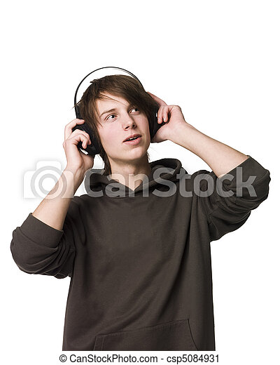 man, muziek, luisteren - csp5084931