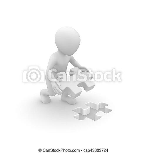 man, raadsel, jigsaw, werkende , 3d - csp43883724