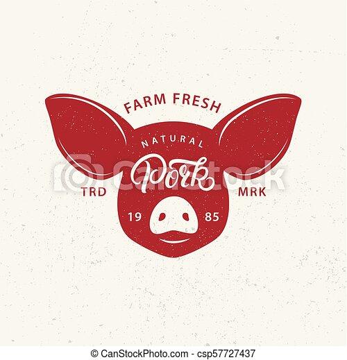 market., varkensvlees, winkel, poster, slager, etiket, farmer, afdrukken, logo - csp57727437