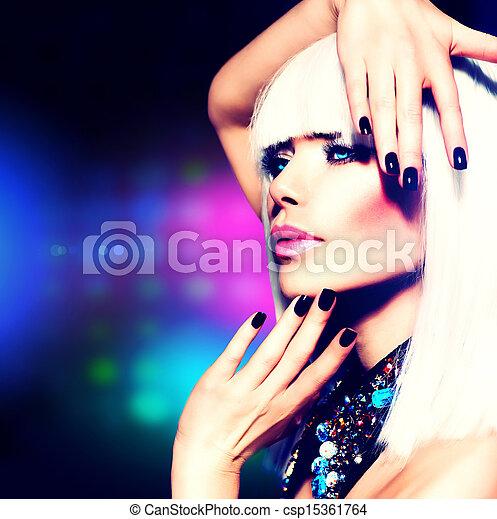 meisje, haarmanier, portrait., makeup, feestje, disco, paarse , witte  - csp15361764