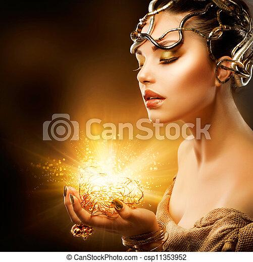 meisje, mode, portrait., makeup, gouden - csp11353952