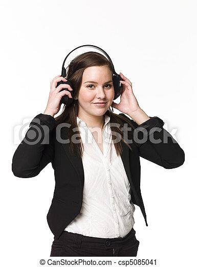 meisje, muziek, luisteren - csp5085041
