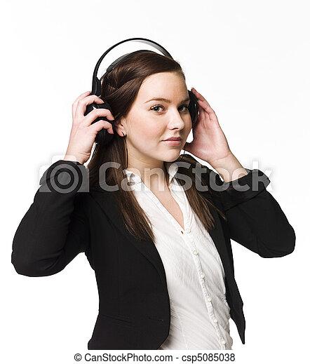 meisje, muziek, luisteren - csp5085038