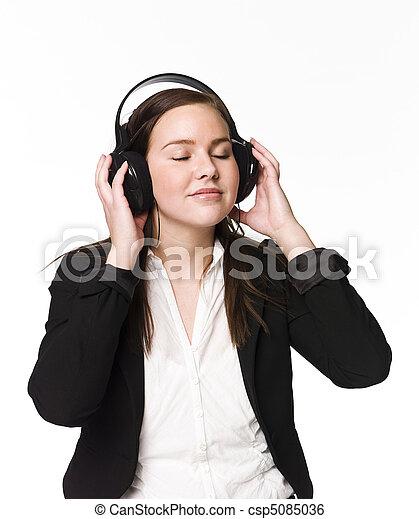 meisje, muziek, luisteren - csp5085036
