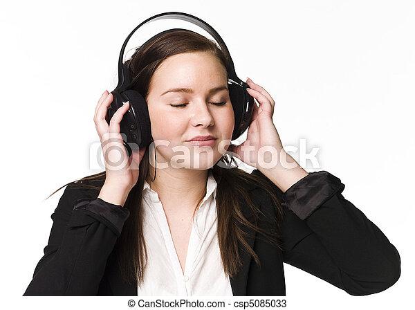 meisje, muziek, luisteren - csp5085033