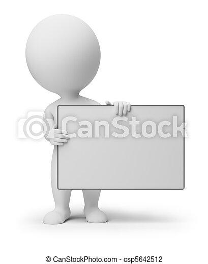 mensen, -, plank, kleine, lege, 3d - csp5642512