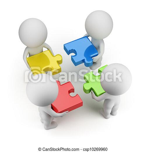 mensen, -, raadsels, team, kleine, 3d - csp10269960