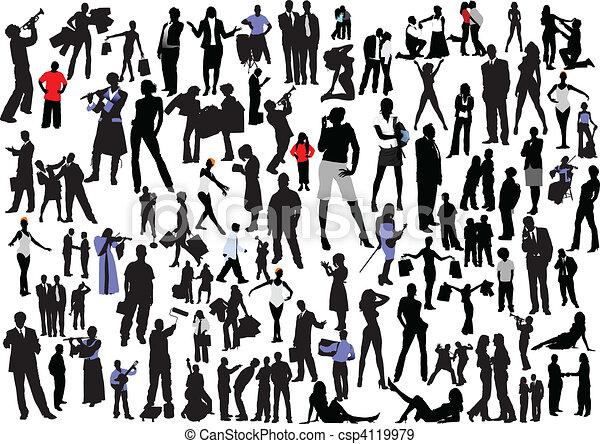 mensen, silhouettes., vector, col, honderd - csp4119979