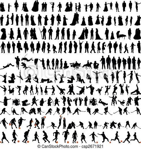 mensen, silhouettes, verzameling, bigest - csp2671921
