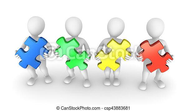 mensen, stukken, raadsel, gekleurde, 3d - csp43883681