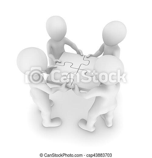 mensen, teamwork, 3d, raadsel - csp43883703