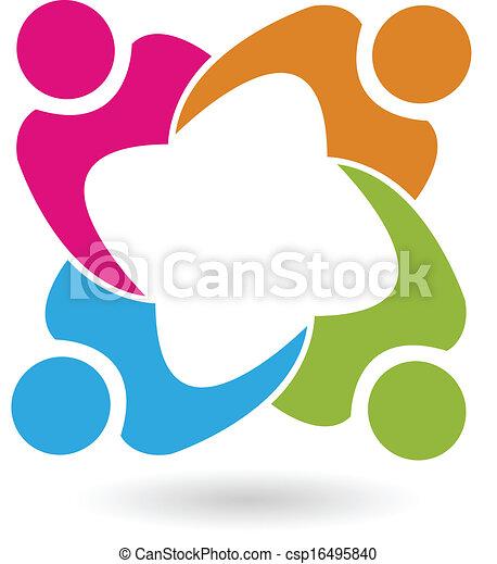 mensen, unie, vector, teamwork, 4, logo - csp16495840