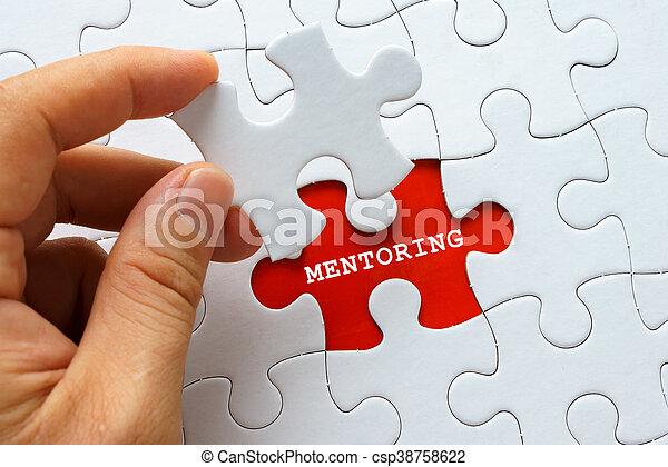 mentoring, witte , woord, raadsel - csp38758622