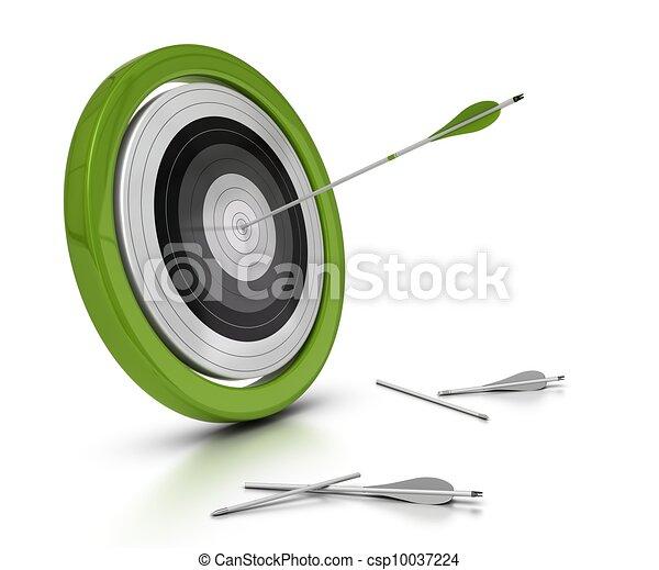 mislukt, objectief, achtergrond, doel, concept, een, anderen, pijl, twee, zij, achived, centrum, richtingwijzer, objectief, het slaan, witte  - csp10037224