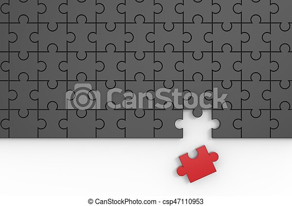 missende , raadsel, jigsaw, piece., illustrating., 3d - csp47110953