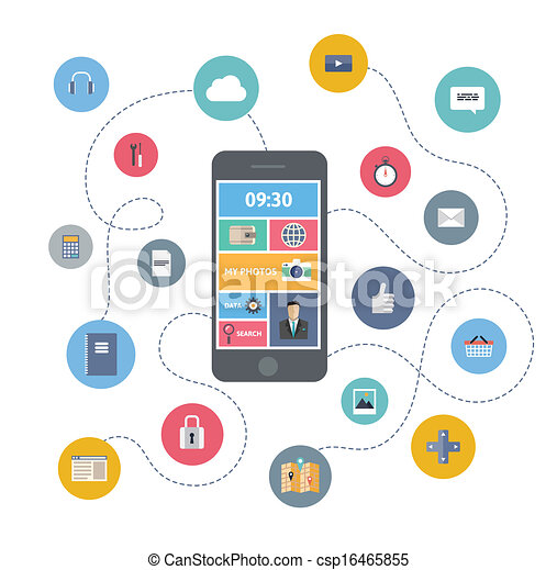 mobiel communicatiemiddel, concept, illustratie - csp16465855