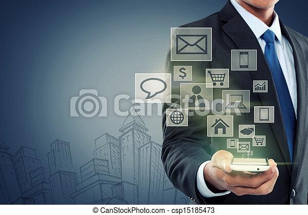 mobiel communicatiemiddel, moderne technologie, telefoon - csp15185473