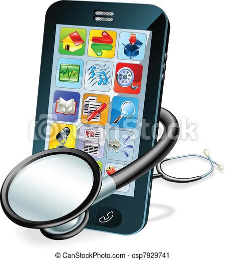 mobiele telefoon, concept, gezondheid controle - csp7929741