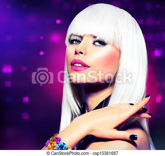 mode, paarse , makeup, disco, haar, portrait., partij meisje, witte  - csp15361687