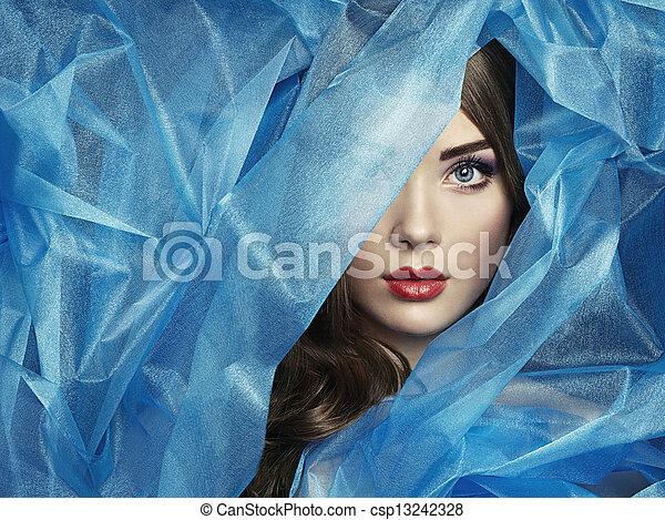 mooi, blauwe , mode, foto, onder, sluier, vrouwen - csp13242328