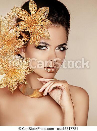 mooi, gouden, vrouw, kunst, beauty, face., photo., flowers., makeup., skin., mode, make-up., perfect, professioneel, meisje, model - csp15317781