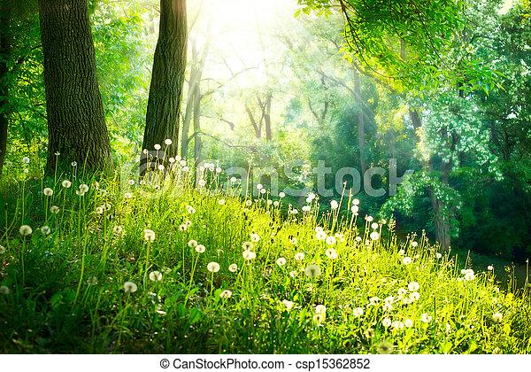 mooi, landschap., lente, nature., bomen, groen gras - csp15362852