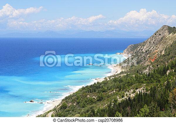 mooi, turkooise overzees, bomen, kust, isla, heuvels - csp20708986