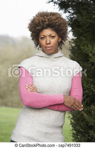 mooi, verticaal, vrouw, tuin - csp7491033