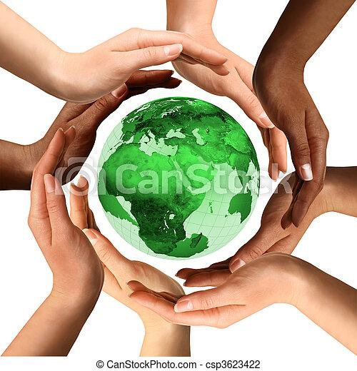 multiracial, aardebol, ongeveer, handen - csp3623422